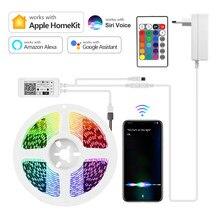 Homekit app wifi led luz de tira lâmpada inteligente fita de néon controle siri rgb led luzes da sala de trabalho com apple homekit/alexa/casa do google