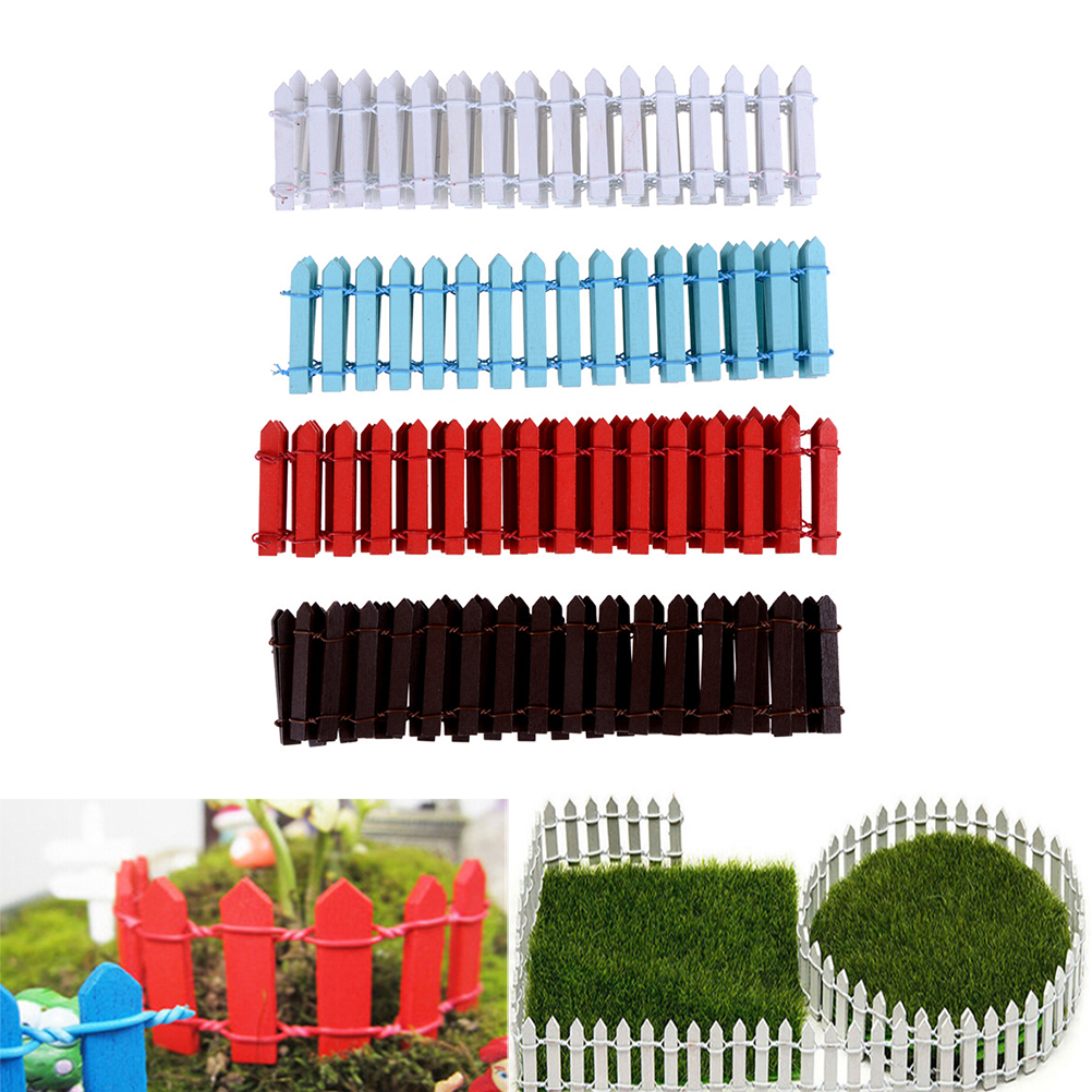 DIY Accessories Miniature Fairy Garden Kit Wood Fence Terrarium Decor 100cm*5cm