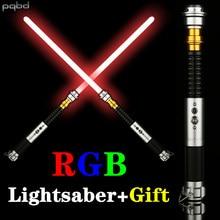 Pqbd rgb sabre de luz metal hilt soundfonts volume 5 tipos de sons lanterna laser espada sabre led para crianças brinquedo cosplay