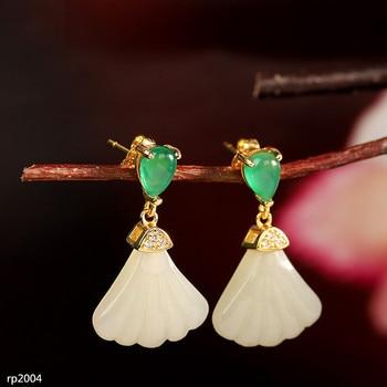 KJJEAXCMY boutique jewelry 925 Silver Hetian Jade Gem Plated Scallop Girl Stud Earrings New