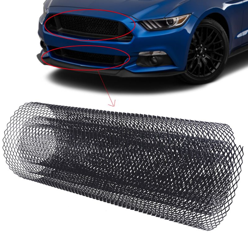 Car Grille Mesh,6x12mm Universal Aluminum Alloy Car Grille Mesh Net Grid Body Bumper Rhombic Grill Spoiler Bumper Vent Mesh Sheet