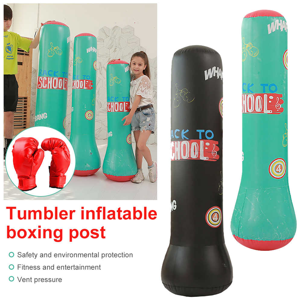 Inflatable Freestanding Punching Bag Relaxing Kickboxing Bag for Adults and Children Muay Thai Inflatable Tumbler Decompression Punching Sandbag