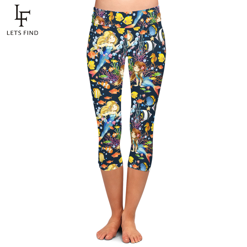 LETSFIND Summer Fashion Women Leggings Animal Undersea World and Mermaid Print Capri Leggings High Waist Elastic Fitness Pants