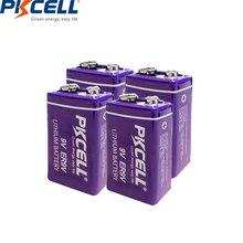 PKCELL 4 قطعة/الوحدة MN1604 ER9V 1200mAh 9 فولت Li SOCl2 بطاريات بطارية ليثيوم للدخان إنذار ترمومتر إلكتروني