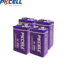 PKCELL 4 יח\חבילה MN1604 ER9V 1200mAh 9V Li SOCl2 סוללת ליתיום סוללות עבור עשן מעורר אלקטרוני מדחום