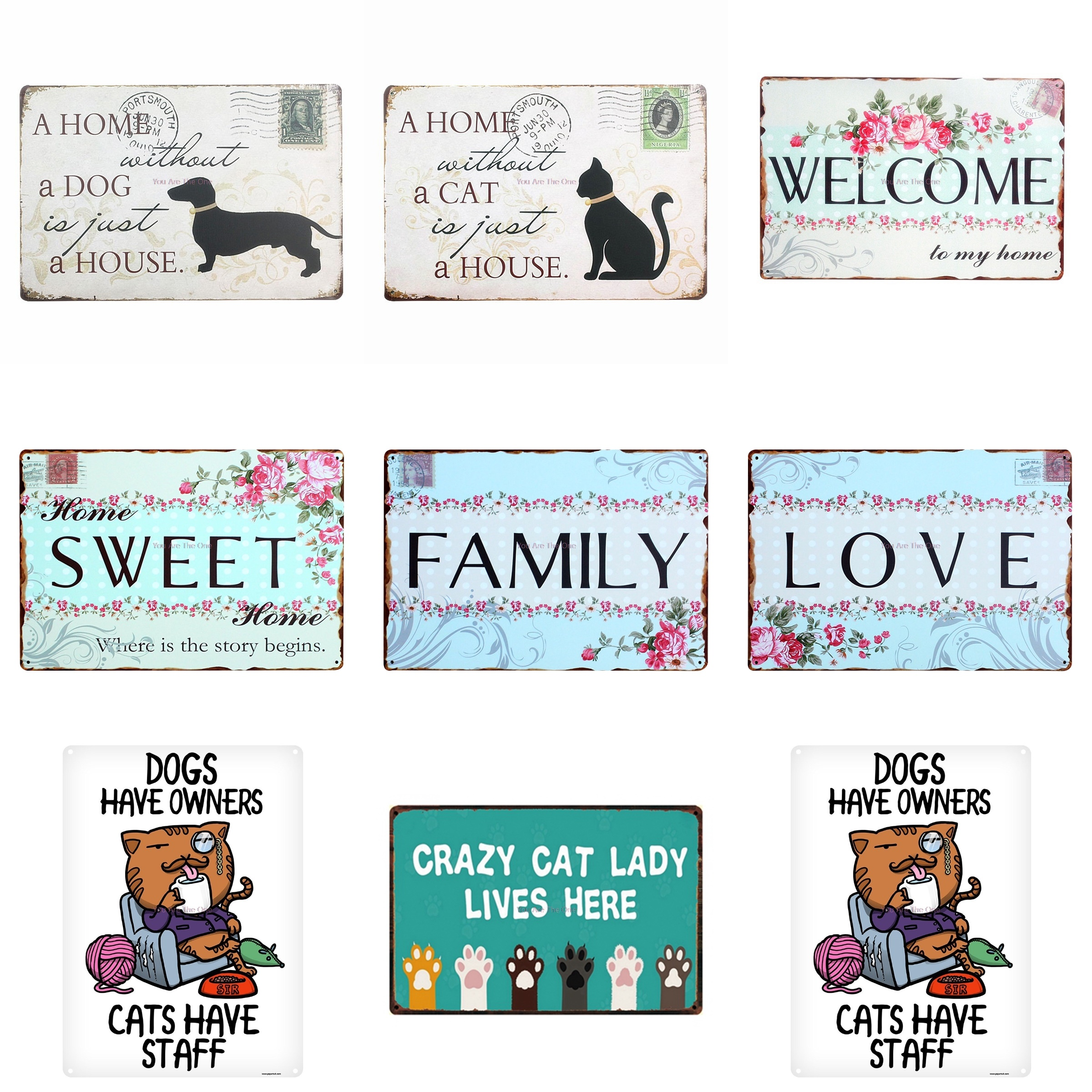 Shabby Chic Style Wooden Sign Cats Have Staff Funny Dogs Have Owners