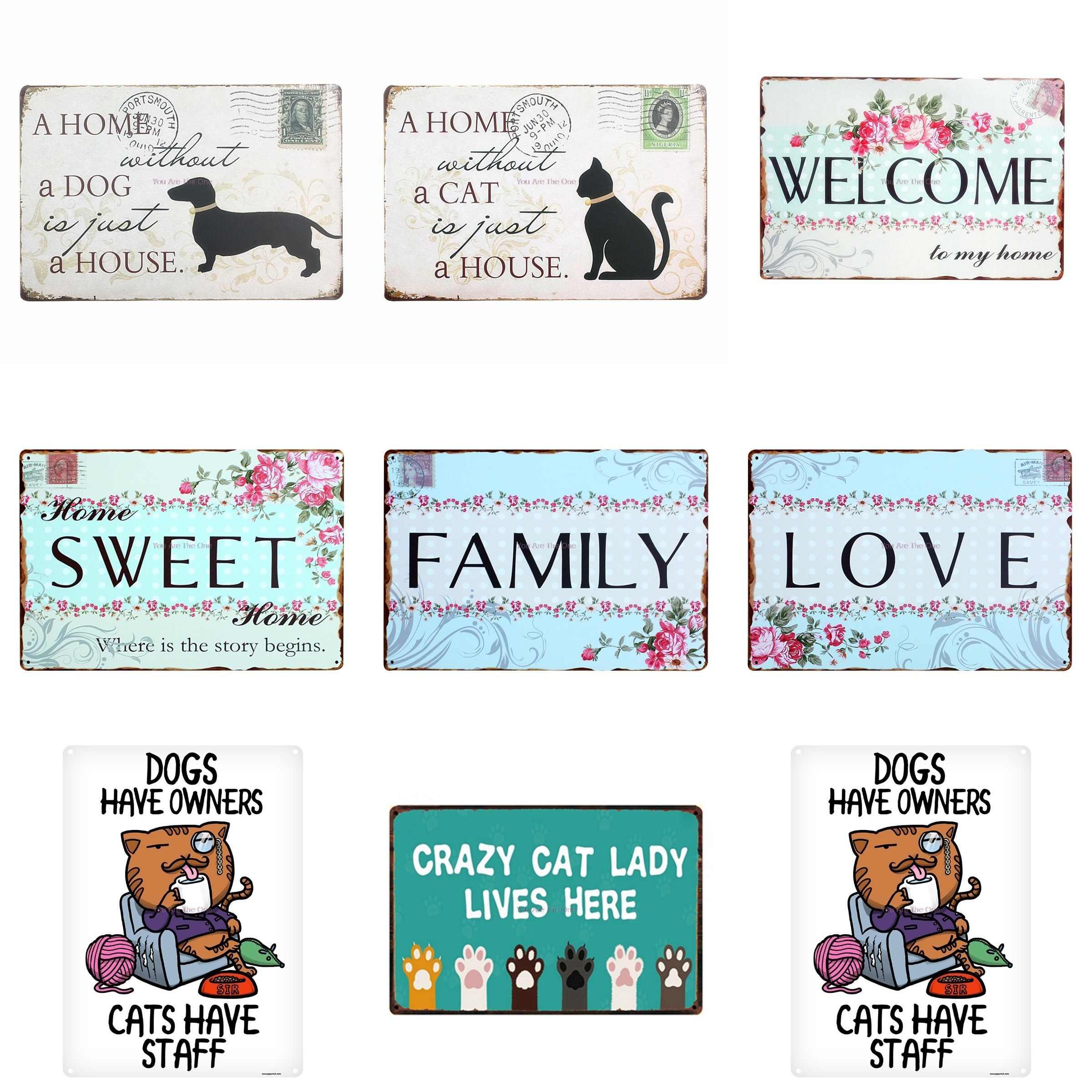 Witaj słodki dom dom kot pies to tylko dom miłość rodzina Shabby metalowe plakietki emaliowane farma metalowa płytka klubowa tablica klasyczna