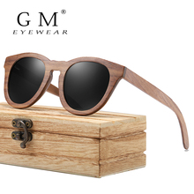 GM Black Walnut Wooden Frame Sunglasses With Coating Mirror Lens Bamboo Sunglasses UV400 Protection With Wooden Box цена