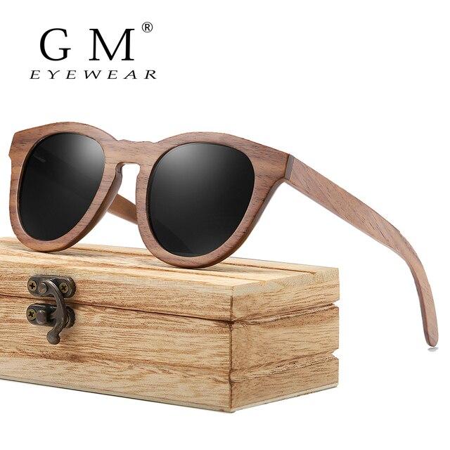 GM שחור אגוז עץ מסגרת משקפי שמש עם ציפוי מראה עדשת במבוק משקפי שמש UV400 הגנה עם תיבת עץ