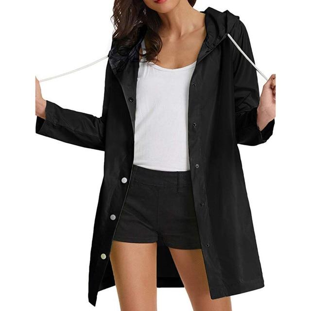 Bomber Jacket Women Casual Solid Rain Jacket Outdoor Plus Size Waterproof Hooded Windproof Loose Coat Jeans Jacket Women 2019