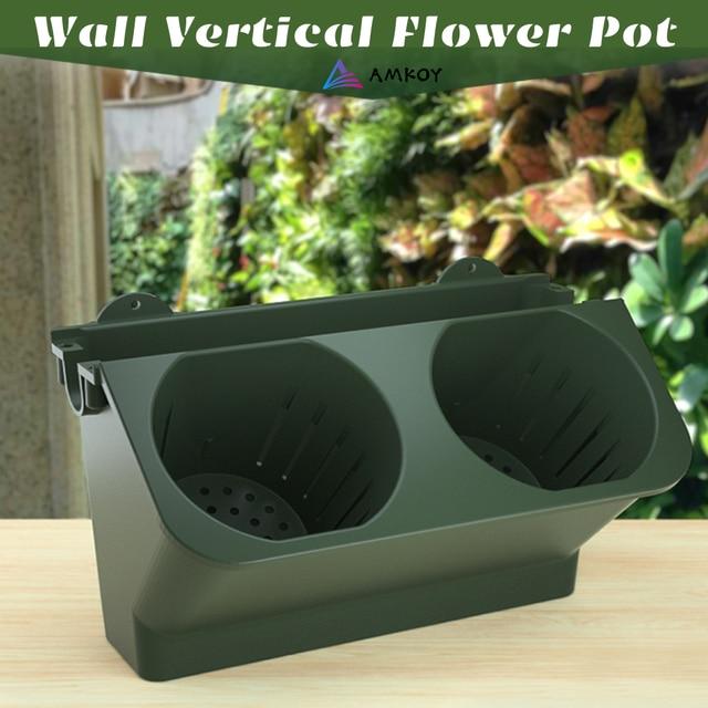 AMKOY Self Watering Flower Pot Stackable Wall Planter Garden Plastic Pots Wall Hanging Vertical Succulents Plant Bonsai Pot Home 1