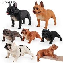 Большая модель французского бульдога, имитация стерео животных, игрушки, американская бульли, полимерная собака, автомобиль, коллекция для ...