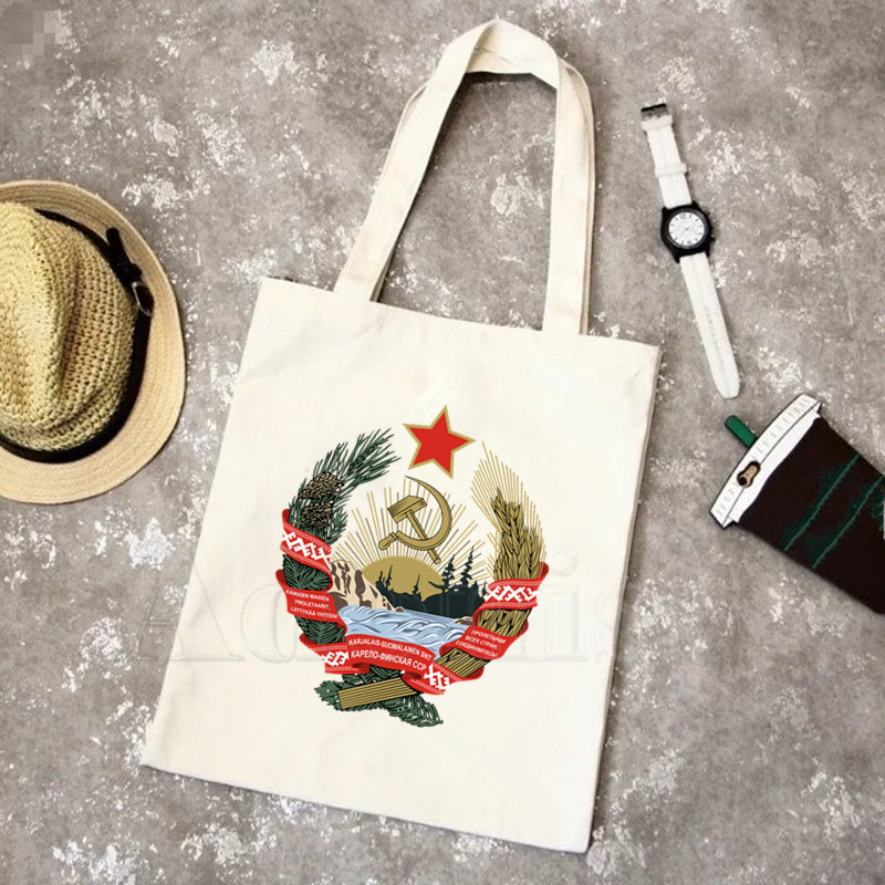CCCP Russian USSR Soviet Union Moscow Print Reusable Shopping Bag Women Canvas Tote Bags Printing Eco Bag Shopper Shoulder Bags