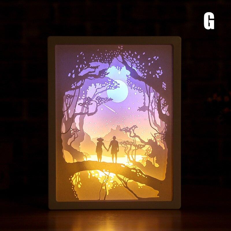 2020 חדש אמנות קישוט 3D נייר גילוף אור מנורת LED מתנה לבית חדר שינה ליד המיטה L9 #2