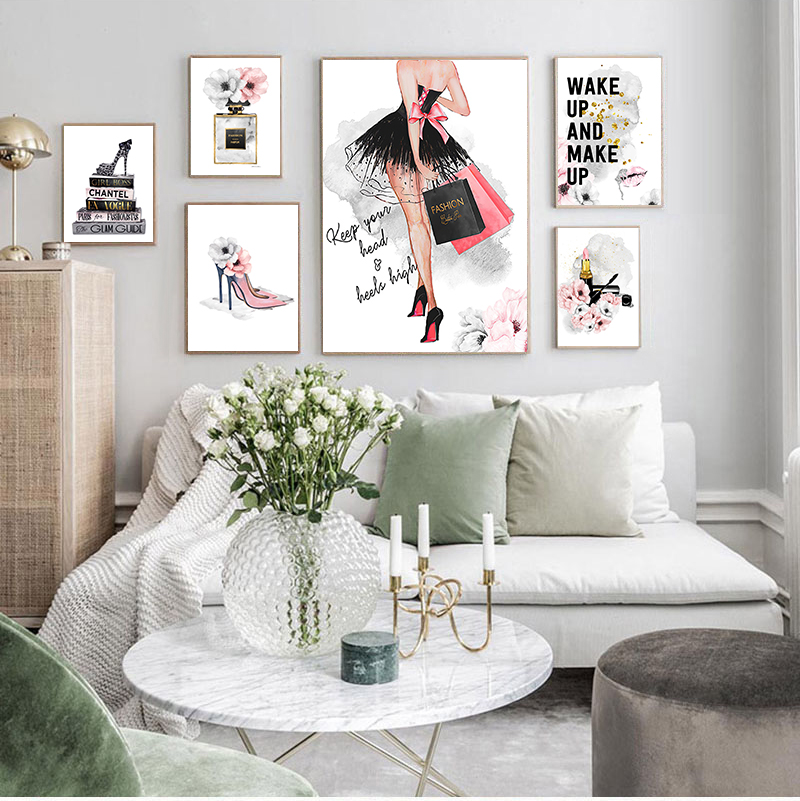 Lipstick Perfume High Heels Fashion  Makeup Floral Print Canvas Art Painting Wall Picture Modern Girl Room Home Decoration