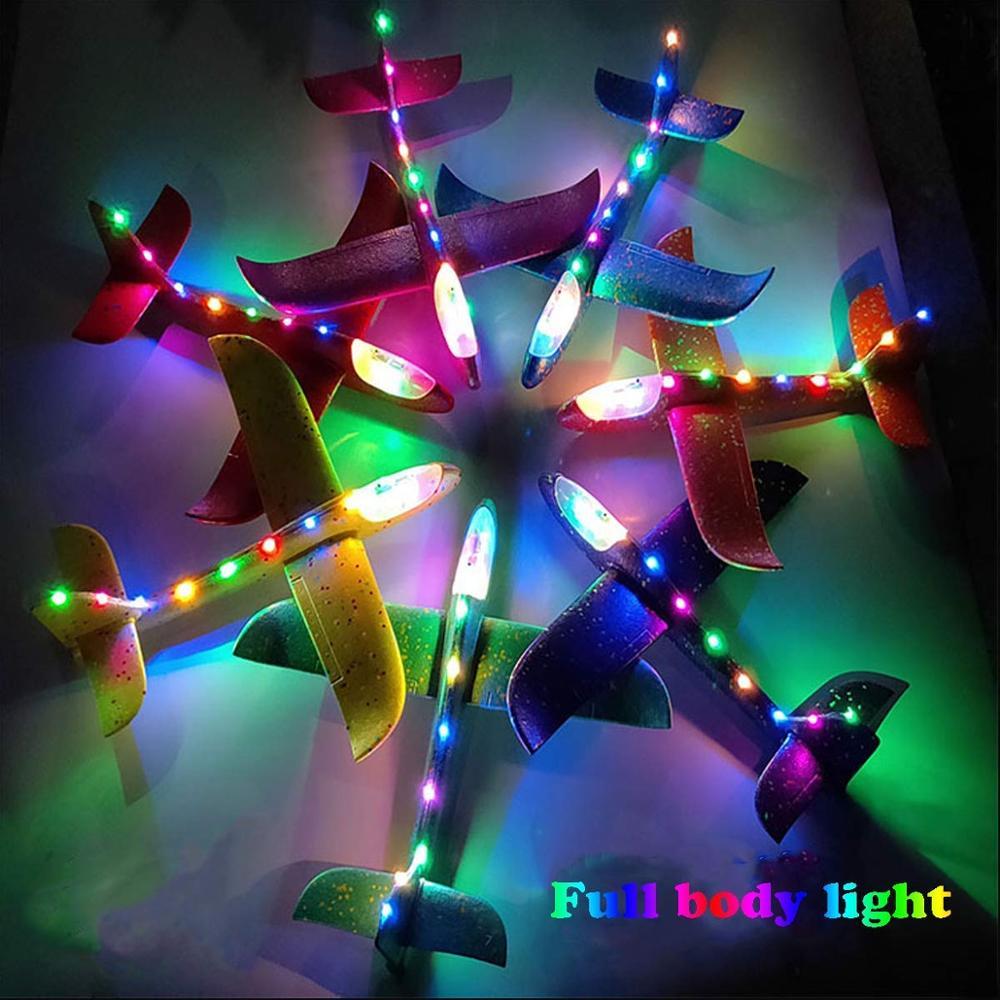 Jouet d'avion de LED de jet de main de mousse, modèle d'avions d'inertie de planeur de Mode de vol de 48cm LED, avions d'avion pour le Sport en plein air d'enfants 2