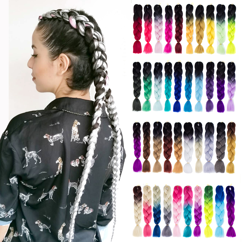 Synthetic Hair Braids Kanekalon Ombre Braiding Hair Extension Box Braid Hair Pink Purple Yellow Golden Colors Crochet Braids