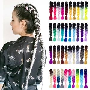 Synthetic hair Braids Kanekalon Ombre Braiding Hair Extension Box Braid Hair Pink Purple Yellow Golden Colors Crochet braids