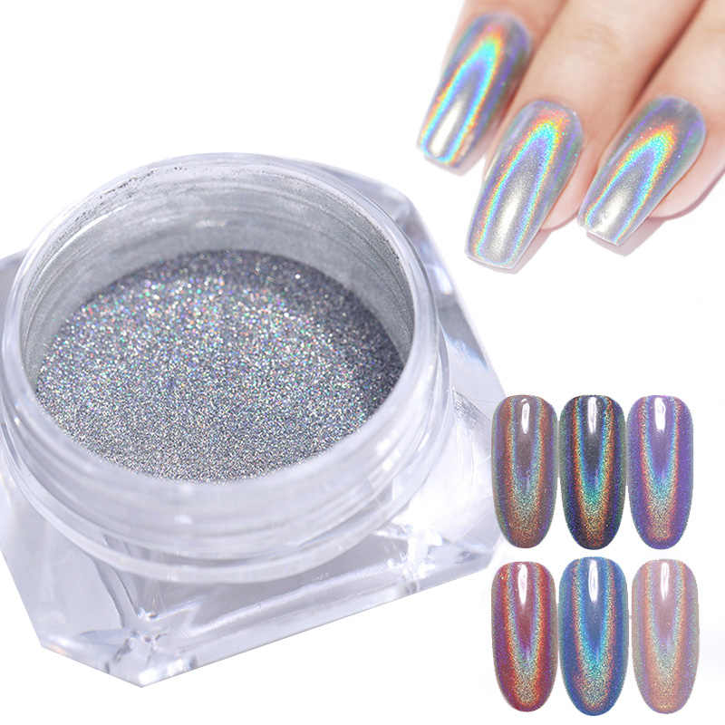 1 doos Holografische Nail Glitter Poeder Pigment Chrome Shining Silver Nail Dust voor Nail Tips Nail Art Decoratie Pigment