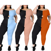 AYES Womens Clothing 2 Pieces Pants Set Patchwork Pants Set Casual Summer Off Shoulder Short Tops Pencil Pants Plus Size Outfits