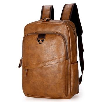 цена на Fashion Men Backpack Waterproof PU Leather Travel Bag Man Large Capacity Teenager Male Mochila Laptop Backpacks