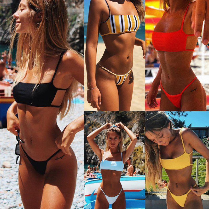 Women Sexy Bandeau Bikini Set 2019 New High Cut Brazilian Swimwear Solid Backless Bikinis Maillot De Bain Stripe Print Swimsuit