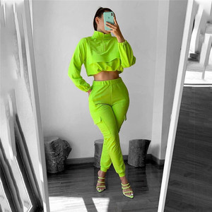 CHRONSTYLETwo Piece Set Women Autumn 2020 Tops And Pants Tracksuits Women Leisure Sports Suit Short Tops Long Pants Ropa Mujer