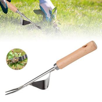 Ręczne narzędzie ogrodnicze ze stali nierdzewnej Premium narzędzie ogrodnicze do pielenia z drewnianą rączką do trawników ogrodowych tanie i dobre opinie KKMOON Drewna STAINLESS STEEL