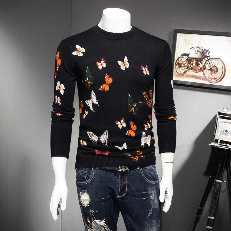 Зимний вязаный, с круглым вырезом свитера пуловеры Для мужчин s без полей, теплая осенняя одежда с принтом в виде бабочки Толщина свитер Для мужчин свитер