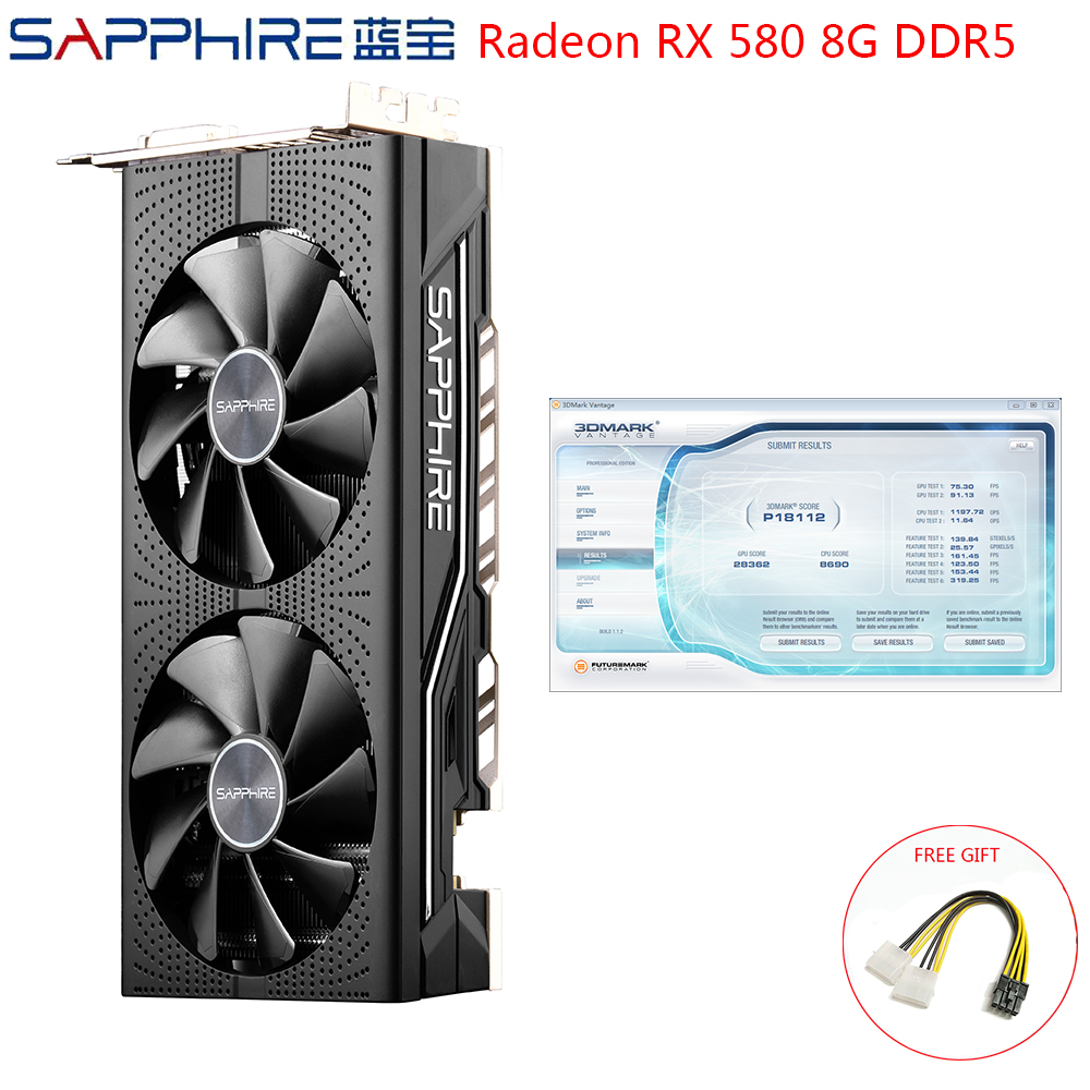 SAPPHIRE AMD Radeon RX580 8GB <font><b>GDDR5</b></font> Graphic Card PC Gaming Video Cards <font><b>RX</b></font> <font><b>580</b></font> 256bit 8GB <font><b>GDDR5</b></font> For Gaming Computer Used RX580 image