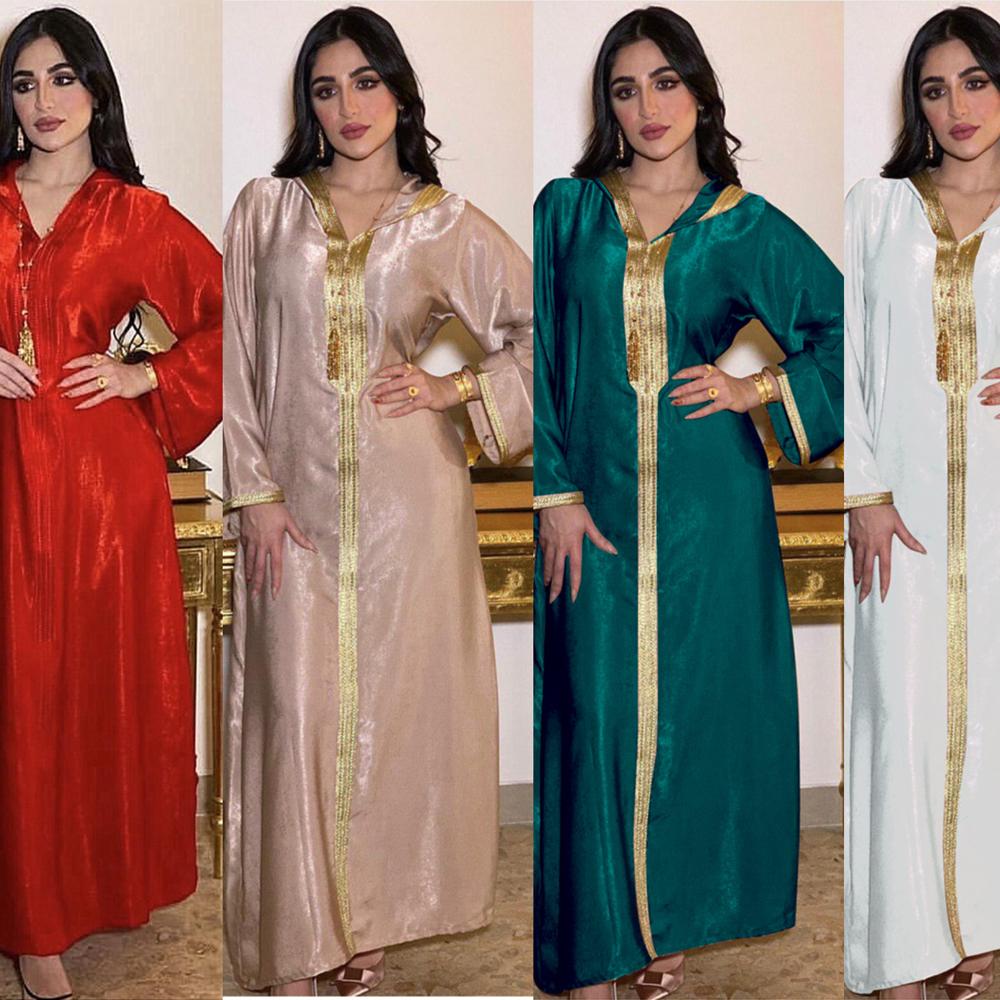 AB034 Hooded Velvet Dress Abaya Woman Clothing European Muslim Kebaya Embroidery Jalabiya Red White Green Robe With Hat Dubai