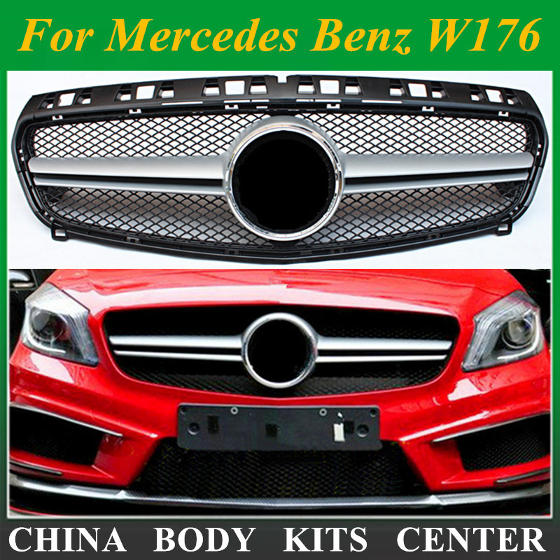 AMG стиль W176 ABS Черная передняя решетка гриля для Mercedes Benz A CLASS A180 A200 A260 A45 AMG 2013 2014 2015