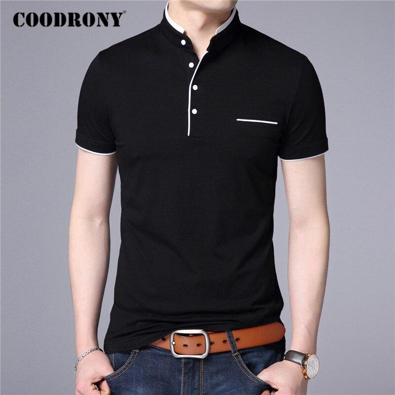 COODRONY Brand Summer Short Sleeve T Shirt Men Cotton Tee Shirt Homme Business Casual Stand Collar T-Shirt Men Clothing C5100S