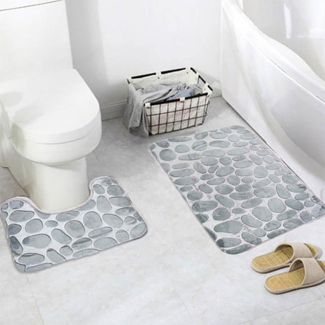 Rock Embossed Memory Foam Bathroom