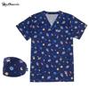 New cotton blue animal flower print uniform beauty salon nursing uniform lab uniform pet shop scrubs uniform work clothes