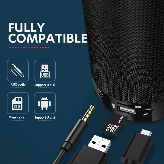 TG113C Column Portable Bluetooth Mini Speaker with FM Radio Waterproof Subwoofer Wireless Loundpeakers Phone Holder