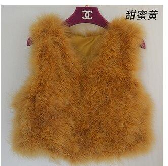 Новинка, женский жилет из натурального меха страуса, меховое пальто из страуса, Меховая куртка, много цветов,, низкая цена, F1092 - Цвет: yellow