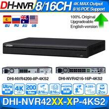 Dahua NVR 4K NVR4208 8P 4KS2 NVR4216 16P 4KS2 ด้วยพอร์ต POE สนับสนุน 4K POE H.265 2 SATA สำหรับอาชีพ IP กล้องระบบรักษาความปลอดภัย