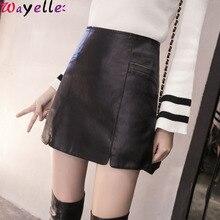 Korean PU Leather Skirt Women Elegant A-Line Mini Pencil Lady Skinny High Waist Black Faux Short