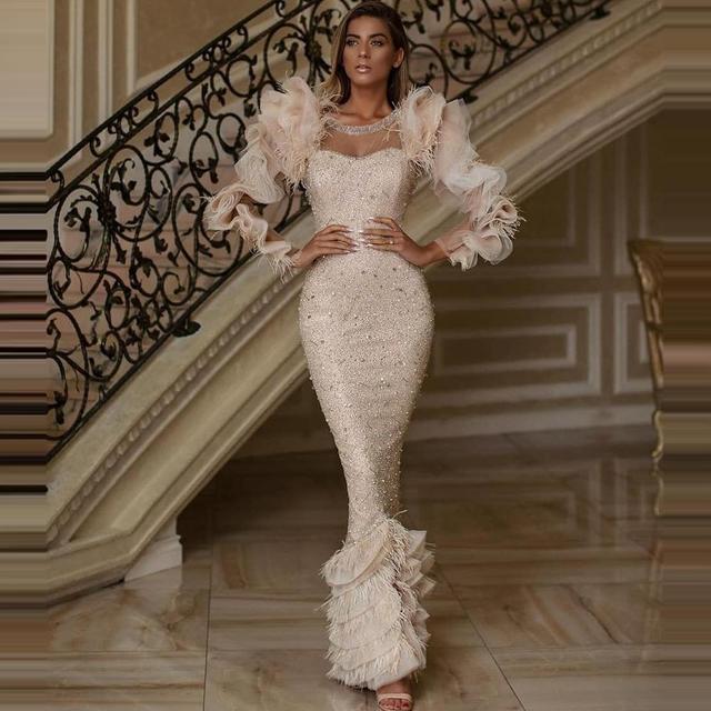 Dubai Saudi Arabic Dress Mermaid Beadings Sequins Tassels Ruffles Long Sleeves O Neck Evening Dresses Long Luxury Gowns