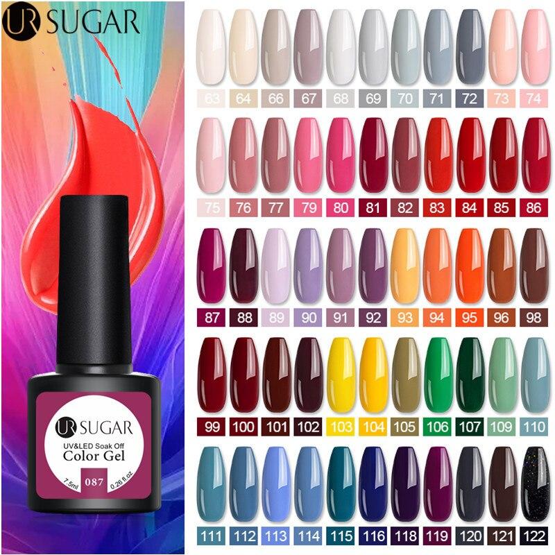 UR SUGAR 7.5ml Gel Nail Polish  Nail Color Soak Off UV Gel Varnish  Semi Permanant UV Gel Nail Art Varnish Top Coat