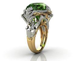 Женское кольцо с натуральным изумрудом, кольцо из желтого золота 14 к, с нефритом