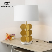 Modern Gold Baking Paint Table Lamp E27 Art Marble Simple Table Lights Bedroom Bedside Lamp Luxurious Craft Table Lamp Series