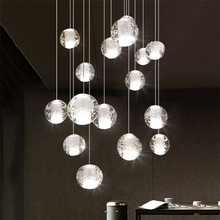 Modern LED Crystal Pendant Lights Lighting Meteor Shower Bubble ball  LOFT Pendant Lamps Staircase Hanging Lamp kitchen Fixtures modern simple staircase pendant lamp led bubble column living room long pendant lamps rotating villa suction crystal pillar post