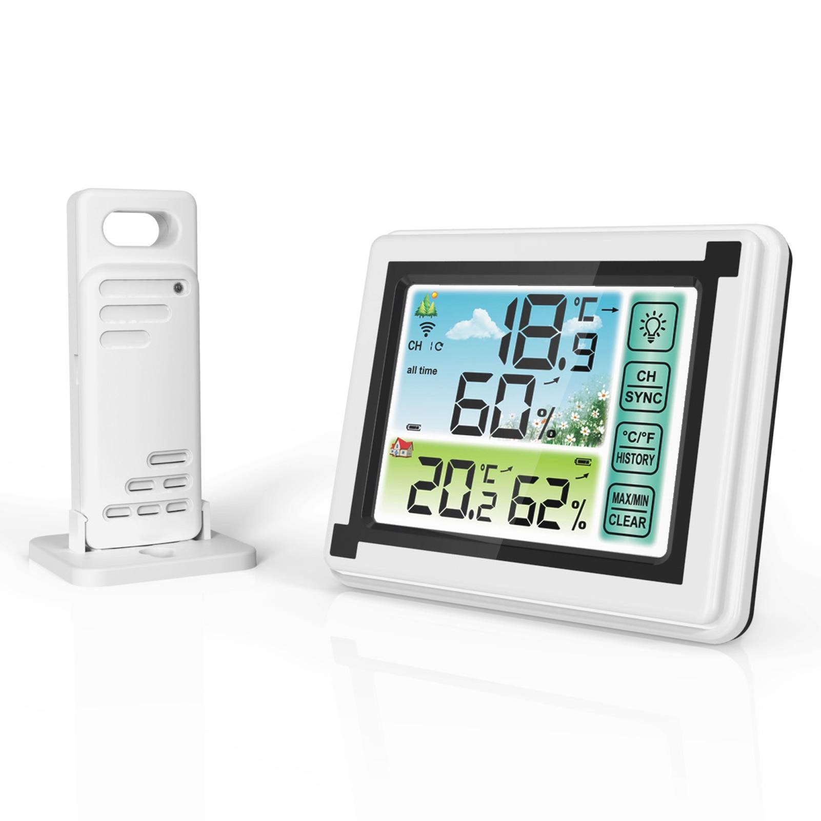 Estação meteorológica ao ar livre indoor sem fio digital thermohigrômetro medidor de temperatura monitor umidade tempo relógio higrômetro