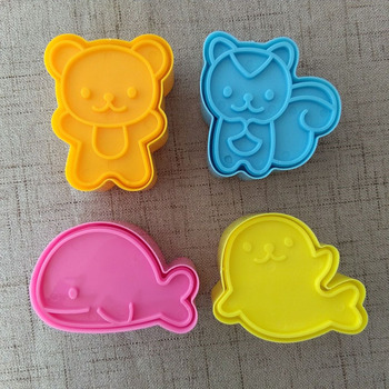 4Pcs/set Cute Samll Dolphin Seal Squirrel Bear Sandwich Cookie Mold Cutters Cutter Cake Decorating Moulds Tools