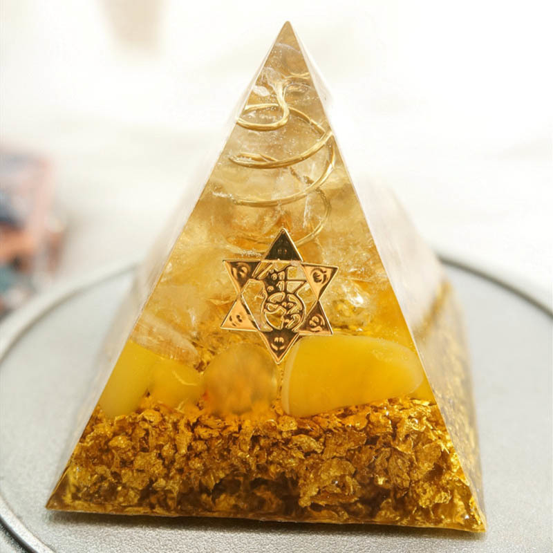 H5abb960e568a4c649b7ed53b1445dadaW - Orgonite Pyramid 5cm symbolizes the lucky citrine pyramid energy converter to gather wealth and prosperity resin decor