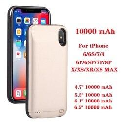 Capa de carregador de bateria 10000 mah, para iphone 6 6s 7 8 plus, x xs max xr, imperdível 6 s power bank caso