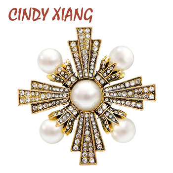 CINDY XIANG Vintage Gold Color Rhinestone and Pearl Cross Brooches for Women Baroque Style Brooch Pin Coat Accessories Elegant