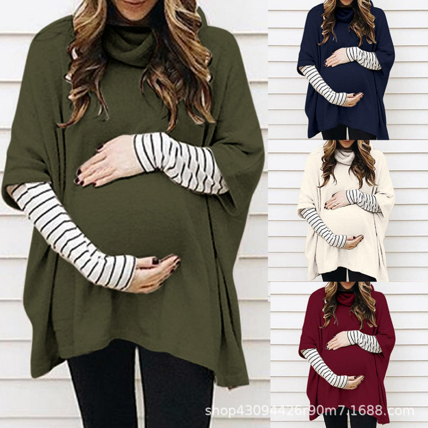 Pullover Sweatshirt Autumn Winter Pregnant Clothes Women Maternity Sweatshirt High Collar Long Sleeve Splicing Stripe Tops